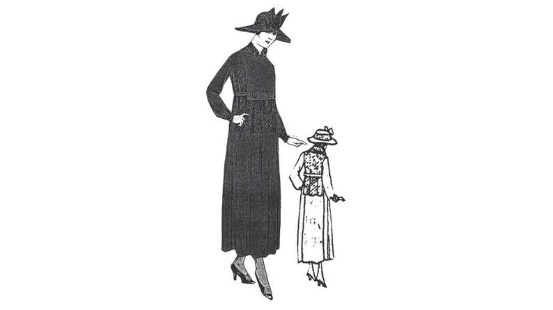 AG2067 - 1917 Black Crepe Mourning Dress Pattern