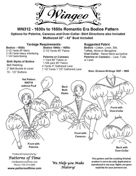 WN312 1830 1850 Mieder mit Kragen Nähen Muster von Wingeo | Etsy