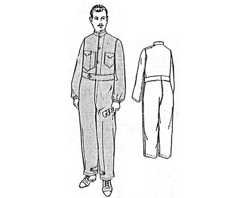 Edwardian Sewing Patterns- Dresses, Skirts, Blouses, Costumes PAC7281 - 1919 Mens Overall Suit sewing pattern (chest 42