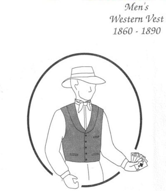 TG229W 1860-1890 Men\'s Western Vest Sewing Pattern by | Etsy
