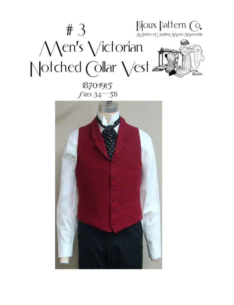 Victorian Sewing Patterns- Dress, Blouse, Hat, Coat, Mens LMBJ03 - 1870 - 1915 Mens Victorian Notched Collar Vest Pattern by Laughing Moon $9.50 AT vintagedancer.com