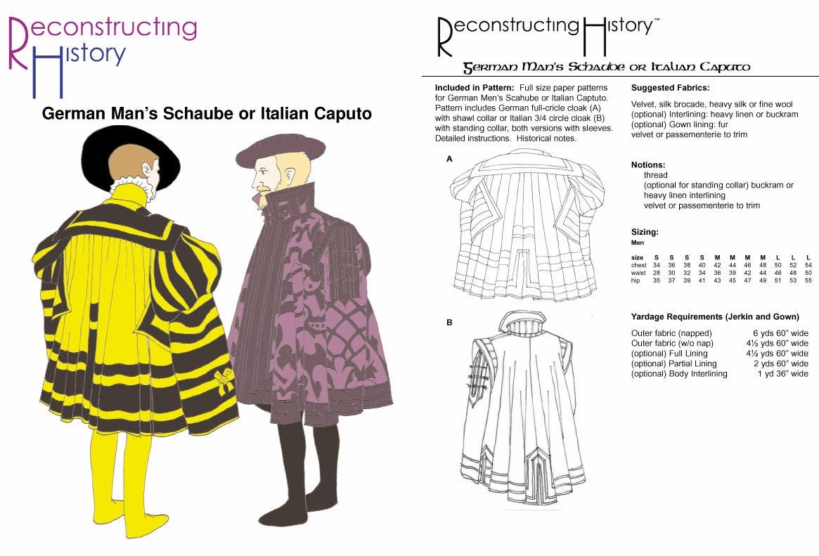RC515 1545-1550s Mann Schaube oder Caputo Schnittmuster von