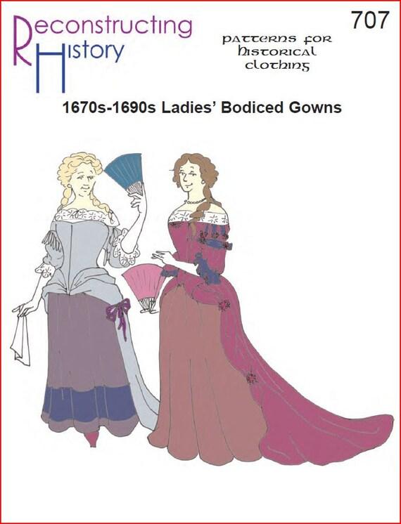 RC707 1670s-1690s Bodiced vestido coser patrón | Etsy