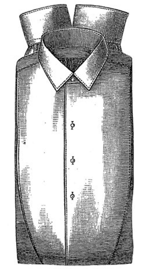 AG1567 1887 Mannes Leinenhemd Schnittmuster durch zeitlose