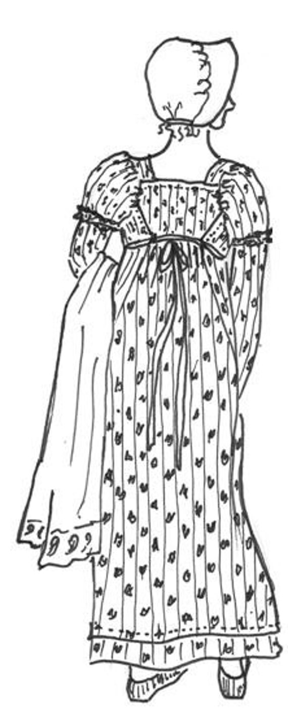 CWBD01 11795-1805 Regency Era Sooke Gown Pattern by Country | Etsy