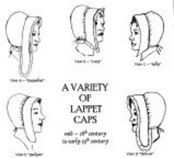 Early 1800s Bonnet Country Wives Sewing Pattern Variety of Lappet Caps 1700s