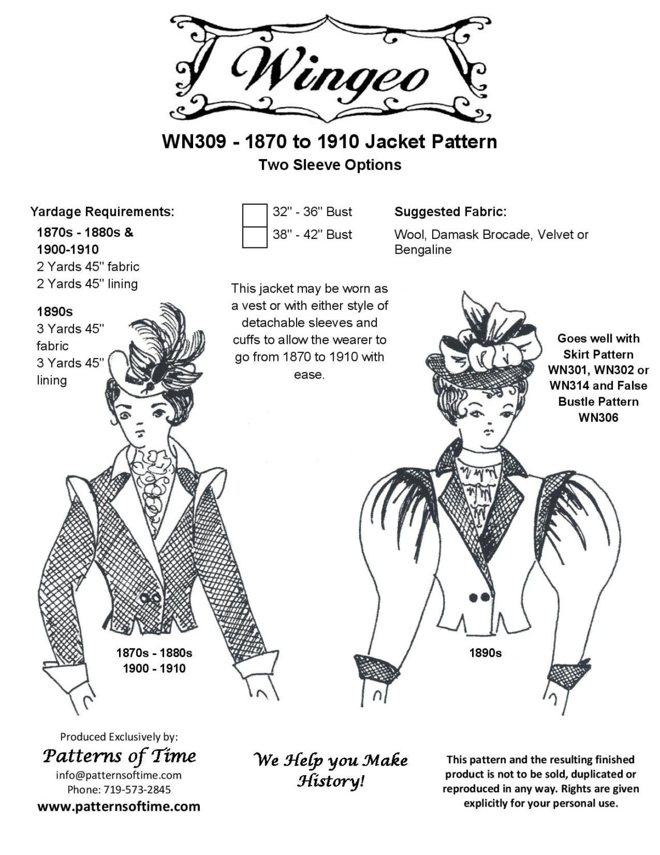 WN309 1870-1910 chaqueta patrón de costura por Wingeo | Etsy