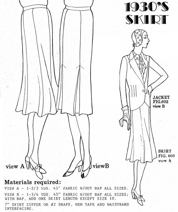 PA603 1930 nuevo estilo faldas patrón por los últimos | Etsy
