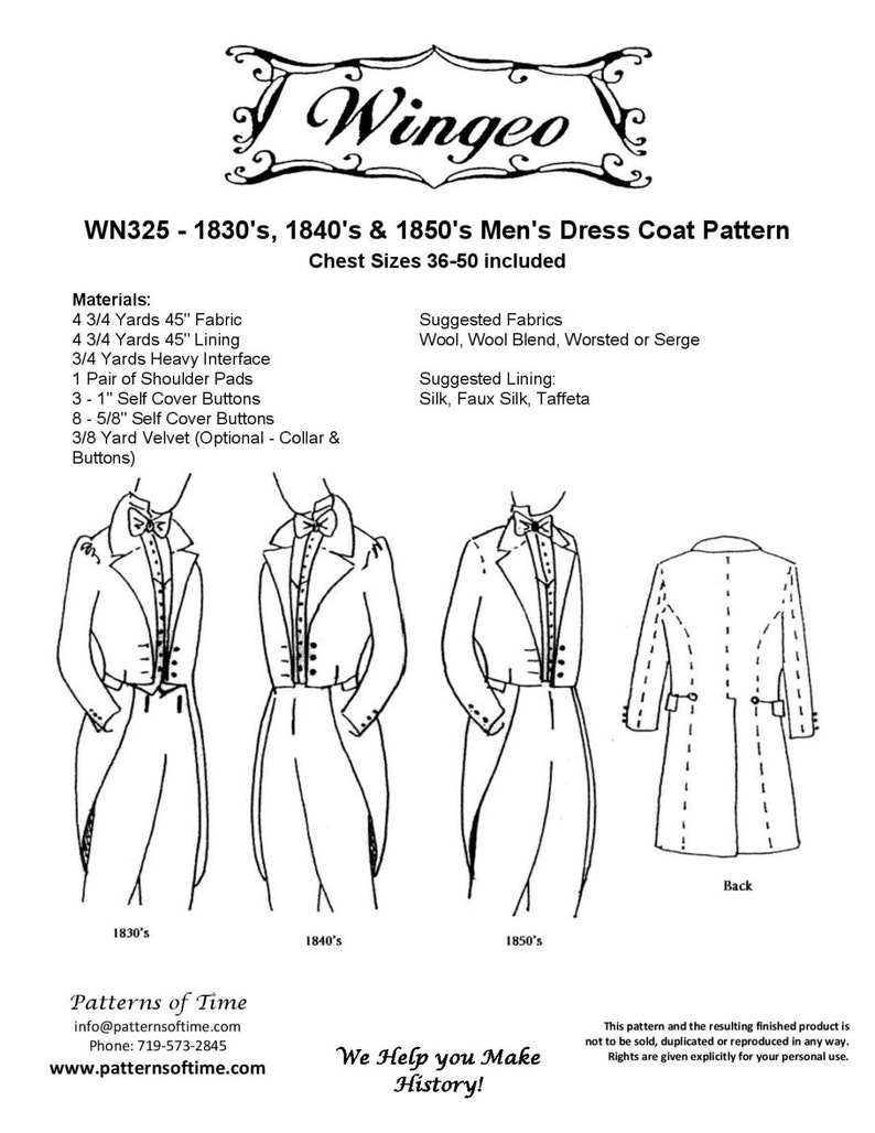 Victorian Sewing Patterns- Dress, Blouse, Hat, Coat, Mens WN325 - Western/Victorian Era 1830s 1840s and 1850s Dress Mens Dress Coat Sewing Pattern by Wingeo $18.95 AT vintagedancer.com