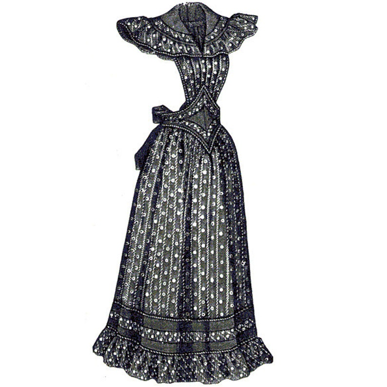 Victorian Edwardian Apron, Maid Costume & Patterns AG1858 - 1894 Dark Blue Striped Housekeeping Apron Sewing Pattern by Ageless Patterns $6.95 AT vintagedancer.com