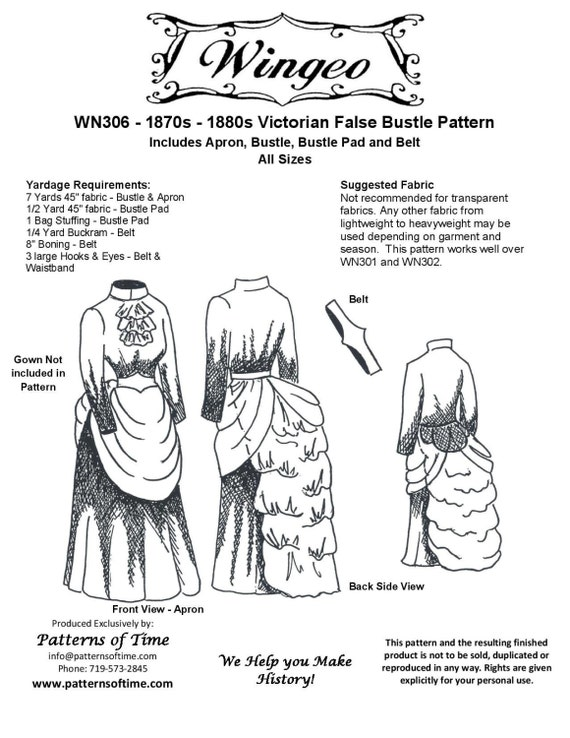 Victorian Sewing Patterns- Dress, Blouse, Hat, Coat, Mens Victorian/Edwardian False Bustle Sewing Pattern by Wingeo $18.95 AT vintagedancer.com