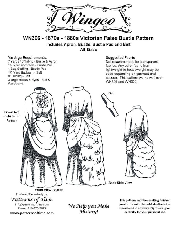 Steampunk Sewing Patterns- Dresses, Coats, Plus Sizes, Men's Patterns Victorian/Edwardian False Bustle Sewing Pattern by Wingeo $18.95 AT vintagedancer.com