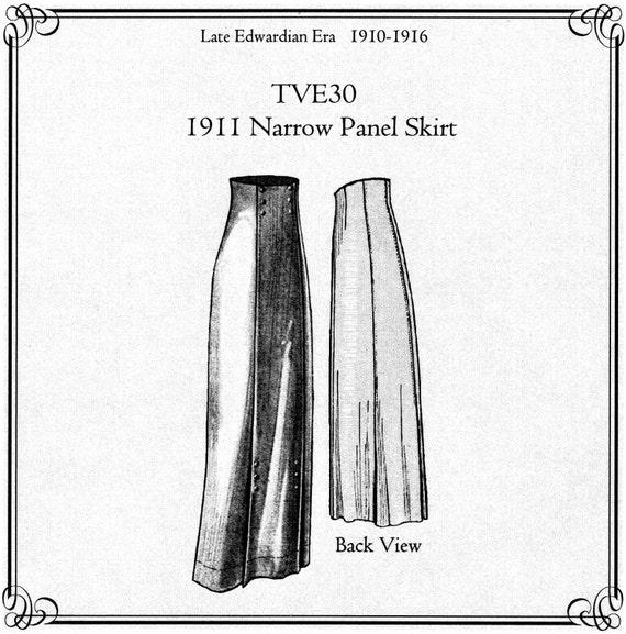 TVE30 1911 Panel estrecha falda costura patrón por | Etsy
