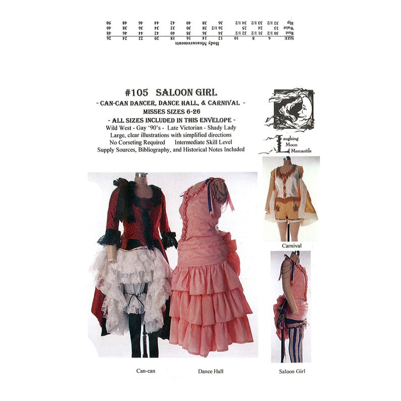 Saloon Girl Costume | Victorian Burlesque Dresses & History LM105 - 1800s Saloon Girl or Can-Can Dancer Pattern by Laughing Moon Mercantile $12.95 AT vintagedancer.com