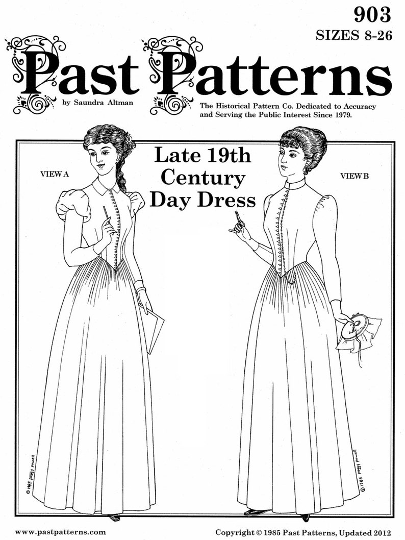 Steampunk Sewing Patterns- Dresses, Coats, Plus Sizes, Men's Patterns PA903 - 1880-1892 Day Dress Sewing Pattern by Past Patterns $22.23 AT vintagedancer.com