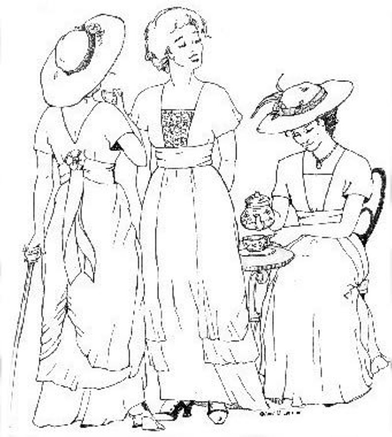 Edwardian Sewing Patterns- Dresses, Skirts, Blouses, Costumes SS106 - 1910s Tea Gown Sewing Pattern by Sense & Sensibility $19.95 AT vintagedancer.com