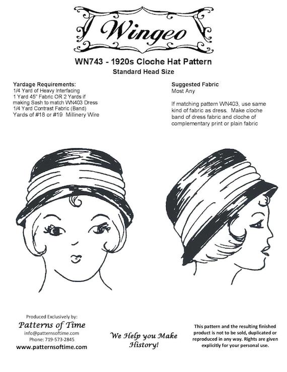 WN743 20er Jahre Cloche Hut Schnittmuster von Wingeo | Etsy