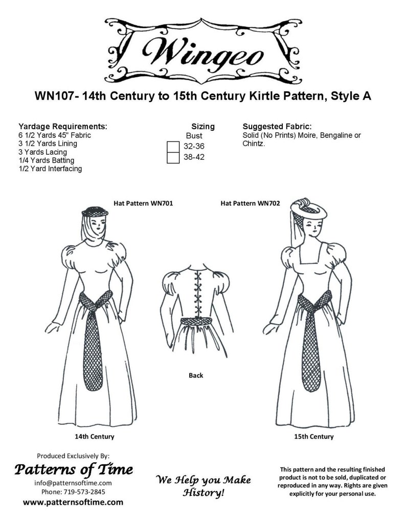 WN107 - 14th & 15th Century Kirtle Sewing Pattern by Wingeo
