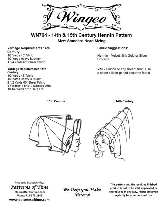 WN704 14-15 Siglo Hennin costura patrón por Wingeo | Etsy