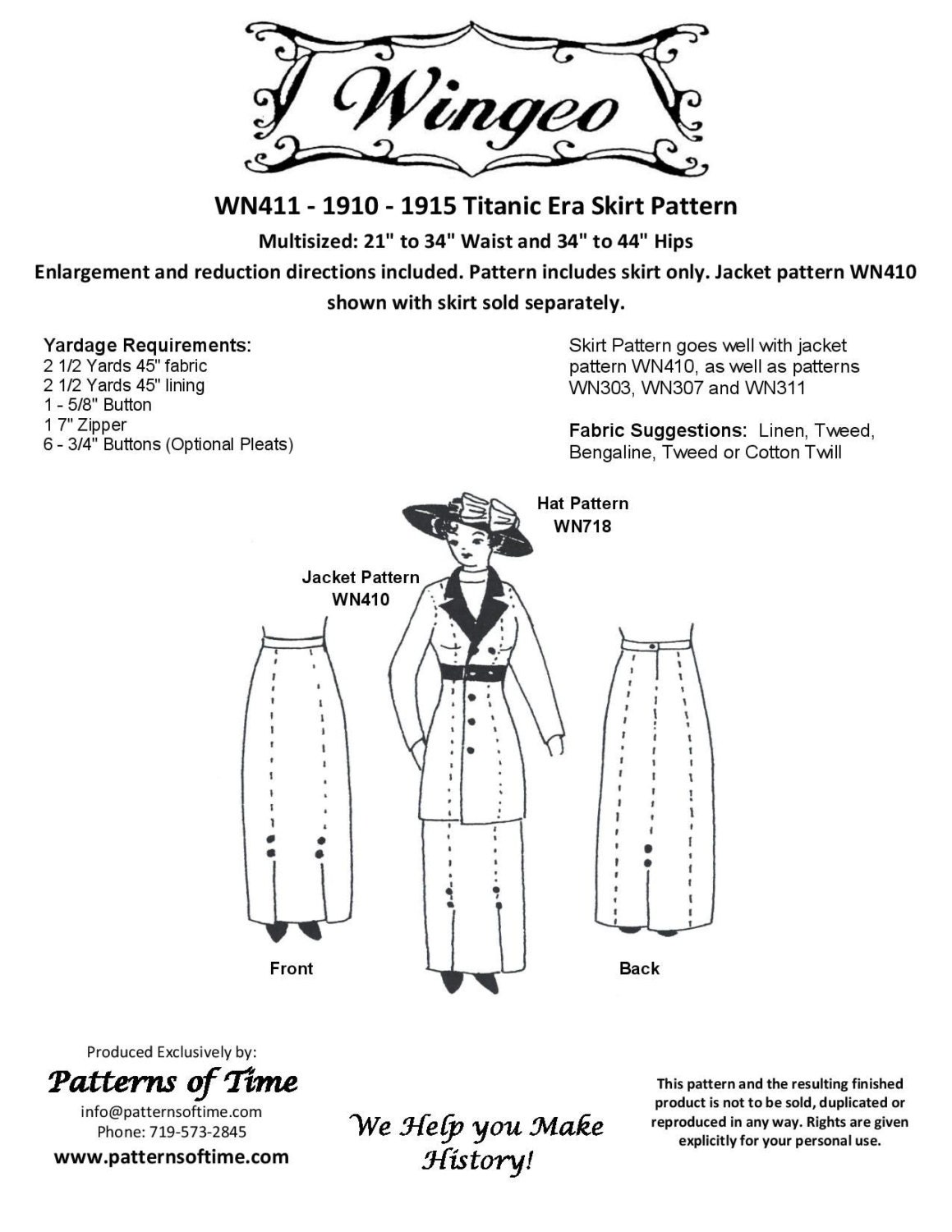 WN411 1910 1915 Skirt Sewing Pattern by Wingeo | Etsy