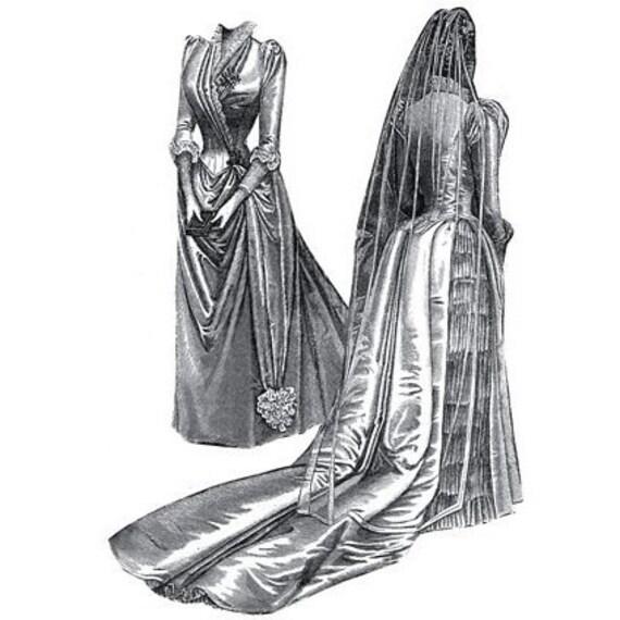AG1781 1889 patrón de costura de vestido de novia por
