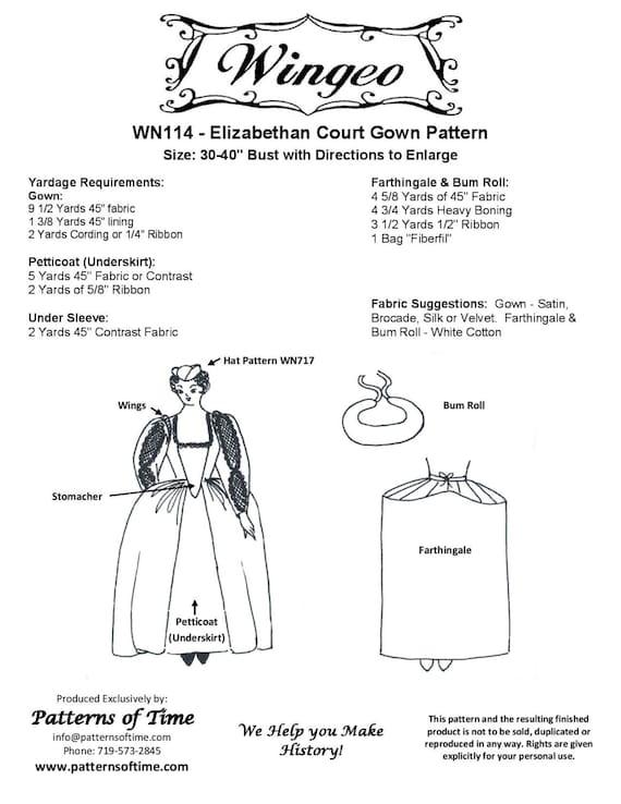 WN114 patrón de costura de vestido corte isabelina por | Etsy