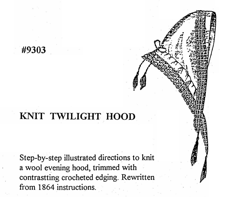 MI9303 1860s Knit Twilight Hood Sewing Pattern by | Etsy