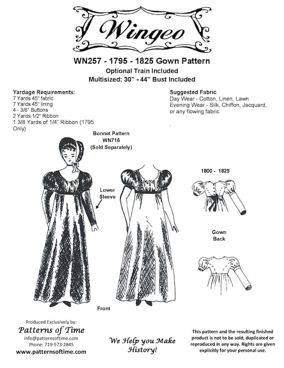 WN257 1795 1825 Gown Sewing Pattern by Wingeo | Etsy