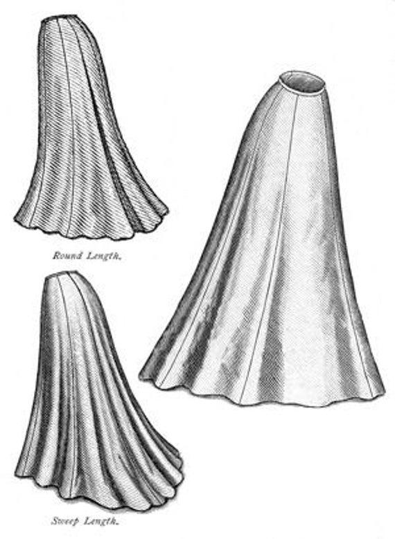 TVE21 1903 Era eduardiana trompeta falda costura patrón por | Etsy