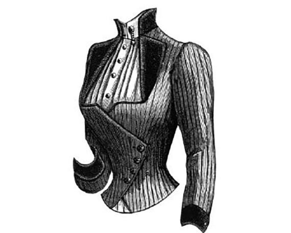 AG1006 1887 Corsage mit plissierten Surah Weste Muster durch