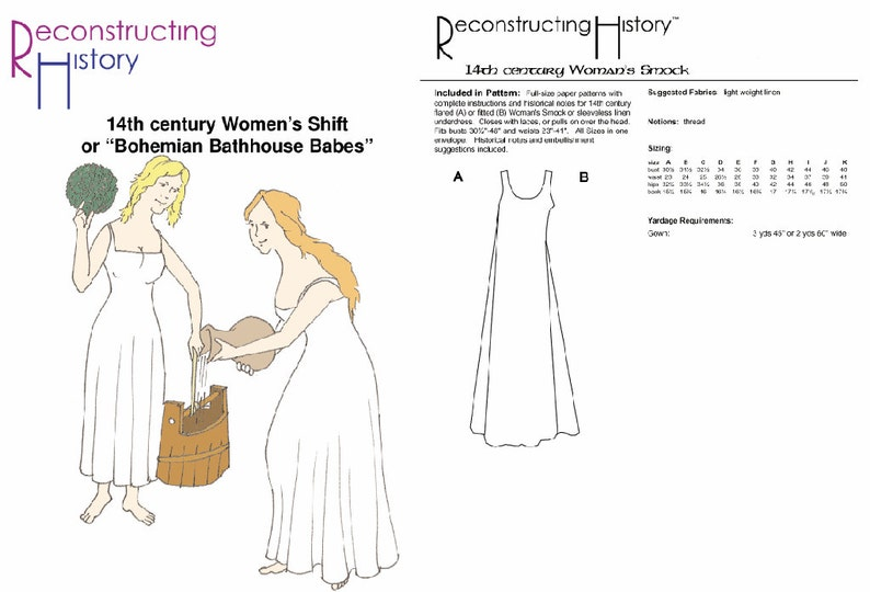 RC018 - 14th century Women's Smock or Chemise Sewing Pattern by  Reconstructing History