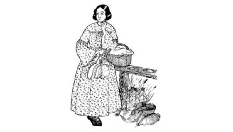 PA803 - 1840s to Early 1850s Everyday Round Dress Pattern