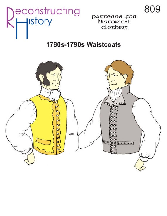 RC809 1780s-década de 1790 chalecos de regencia Era patrón | Etsy