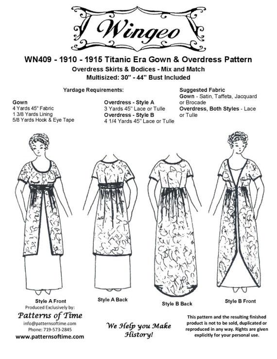 WN409 1910-1915 Kleid & Überkleid Schnittmuster von Wingeo | Etsy