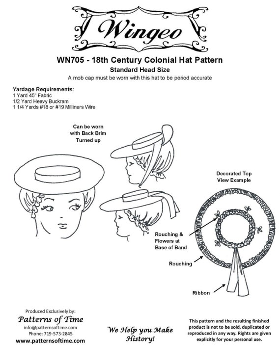 WN705 18th Century Colonial Hat Sewing Pattern by Wingeo  84564df8a6a