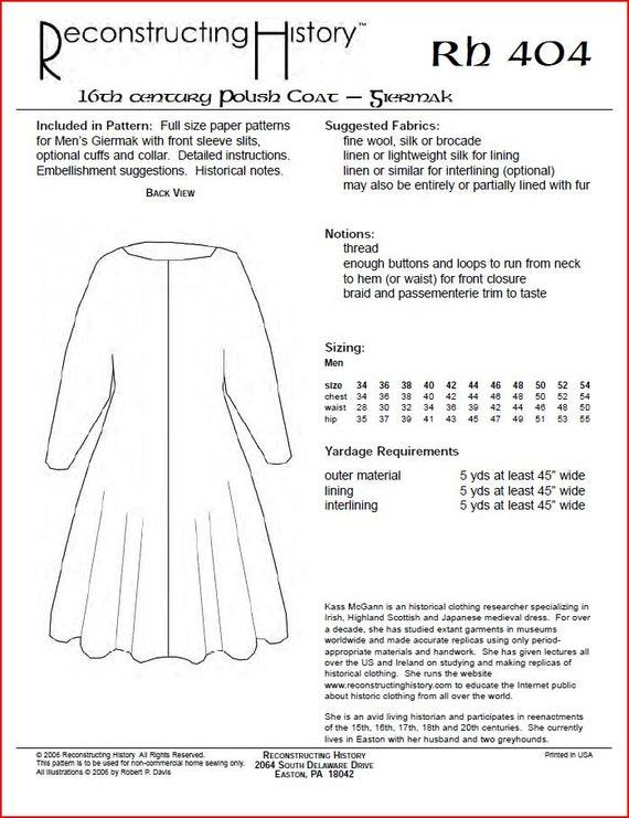 RC404 siglo XVI Polaco capa Giermak patrón de costura por   Etsy