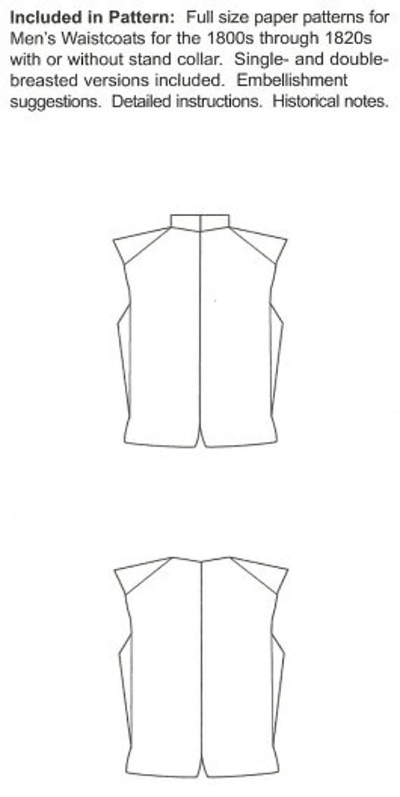 RC810 patrón de costura de los años 1800-1820s-chalecos por | Etsy