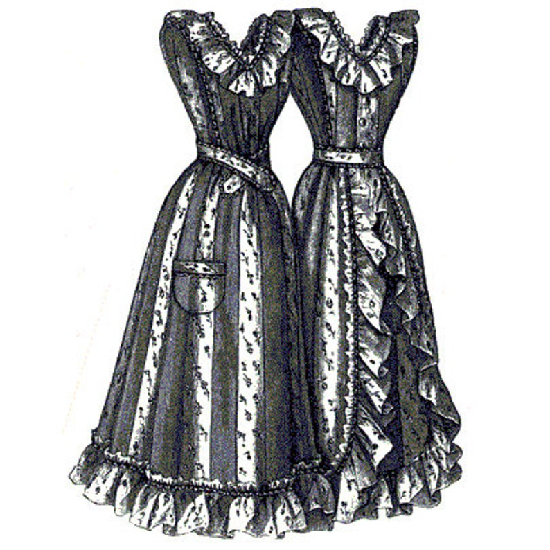 Victorian Edwardian Apron, Maid Costume & Patterns AG1850 - 1894 Striped Housekeeping Apron Sewing Pattern by Ageless Patterns $7.45 AT vintagedancer.com