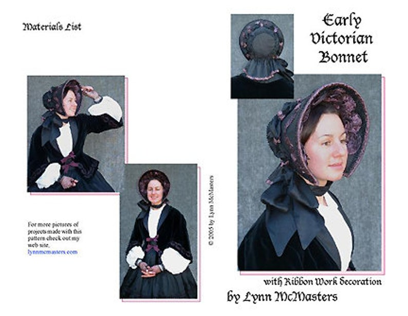 MC32 - Early Victorian Bonnet Pattern (Sewing Pattern) f177c078141