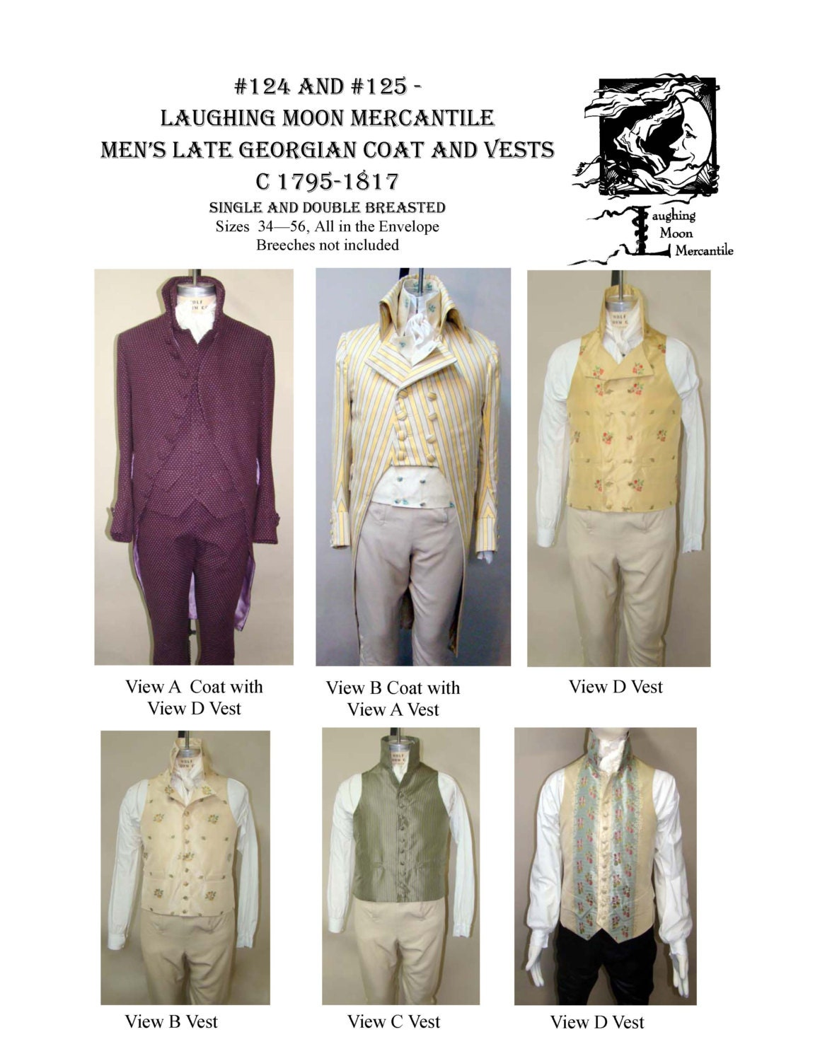 LM124/125 Sewing Pattern 1795-1817 Men\'s Georgian Era