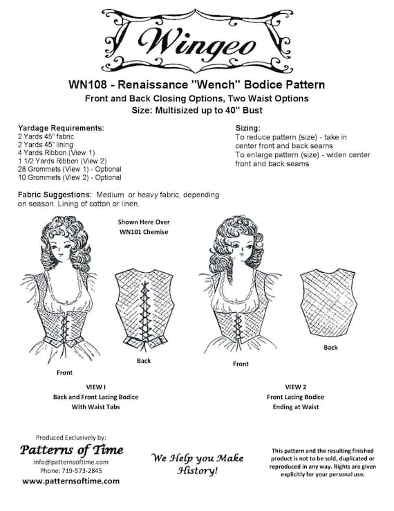 Wn108 Renaissance Wench Bodice Sewing Pattern By Wingeo Etsy