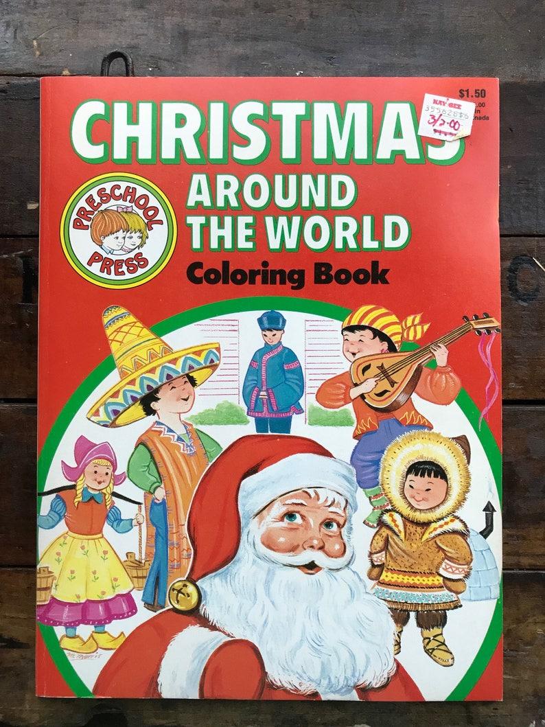 Christmas Around The World Coloring/Activity Book ~ Preschool Press 1985 ~  NOS/Unused ~ Vintage ~ CB77