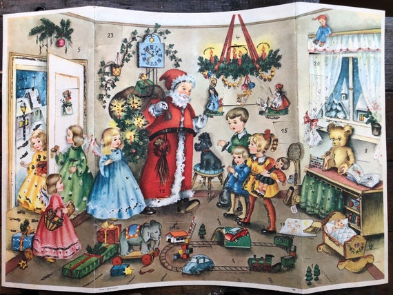 Christmas Advent Calendar W. Germany ~ Vintage ~ Glittered, Santa, Angels, Children With Their Toys