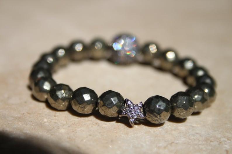 6mm faceted hematite bead micro pave setting star spacer micro pave setting charm Natural hematite gemstone bracelet