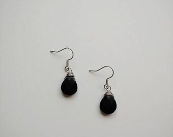 Gift for Her Gemstone Earrings Beaded Earrings Silver Heart Earrings Black Obsidian Earrings