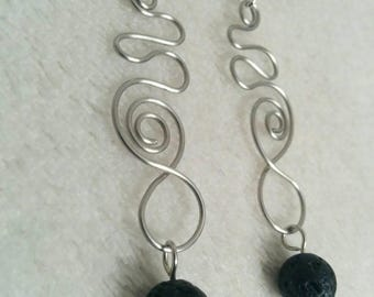Swirly Essential Oil Diffuser Earrings with Black Lava Beads and Stainless Steel Wire