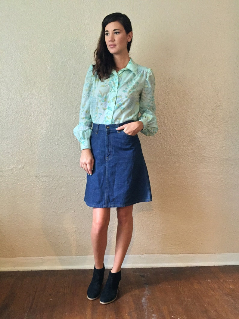 1960s Boho Floral Blouse with Bishop Sleeves  Turquoise  Mint Green  Hippie Long Sleeved Button Down Shirt