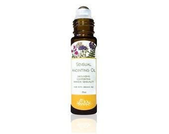 Sensual Anointing Oil, Vanilla-Orange-Rose-Vetiver Essential Oil Roll-On, Natural Romantic Aromatherapy Perfume, Deodorant for Women & Men