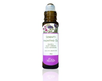 Serenity Anointing Oil, Lavender-Chamomile-Patchouli Essential Oil Roll-On, Natural Calming Aromatherapy Perfume, Deodorant for Women & Men
