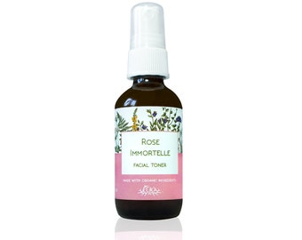 Rose Immortelle Facial Toner, Rose Water Face Spray, Finishing Spray, Vegan Natural Skincare, Acne Care, with Helichrysum & Argan Oil